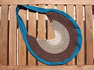 Τσάντα με βελονάκι & ύφασμα 5