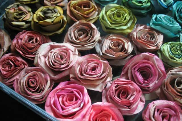 Λουλούδια από φίλτρα του καφέ 2