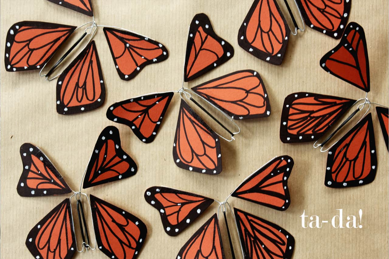 Πεταλούδες από χαρτί και σύρμα 5