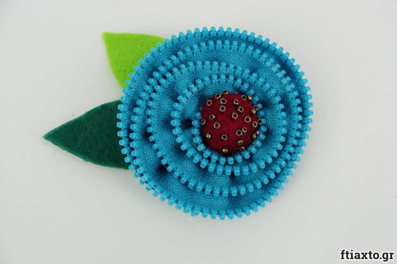 Λουλούδι από χρωματιστό φερμουάρ 4