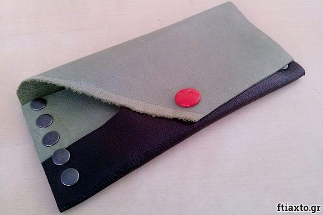 Πορτοφόλι από δέρμα και τρουκ 1