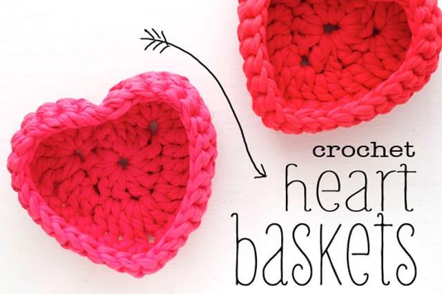 Καλαθάκι καρδιά με βελονάκι 1