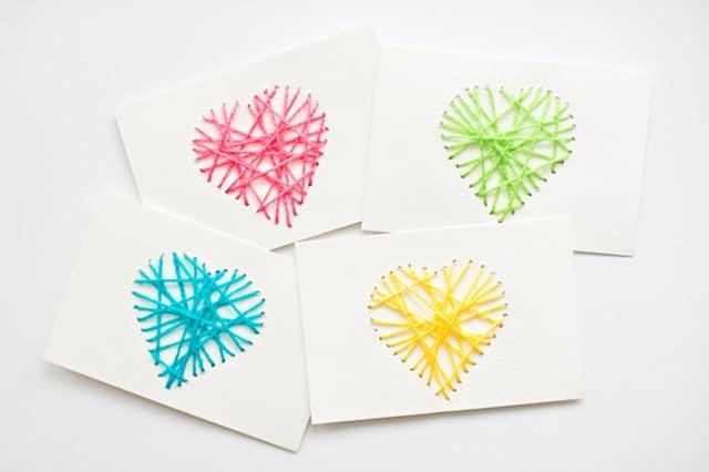 Κάρτες με κεντημένες καρδιές 2