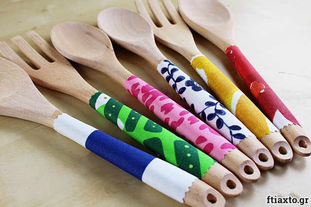 Διακόσμηση σε ξύλινες κουτάλες 1
