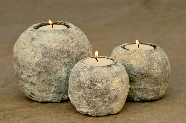 Εύκολα κηροπήγια με εφέ πέτρας 2
