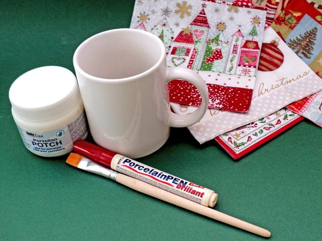 Χριστουγεννιάτικη κούπα με ντεκουπάζ 2