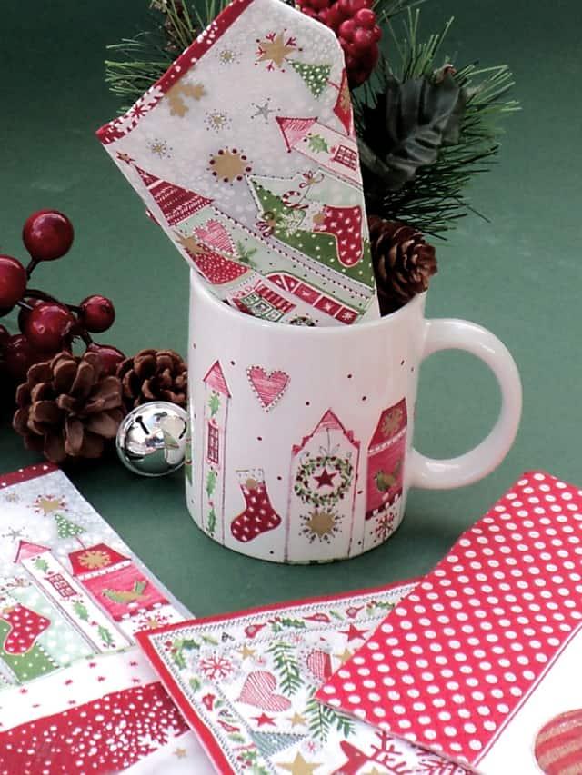 Χριστουγεννιάτικη κούπα με ντεκουπάζ 5