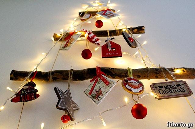 Χριστουγεννιάτικο δέντρο τοίχου από κλαδιά 1