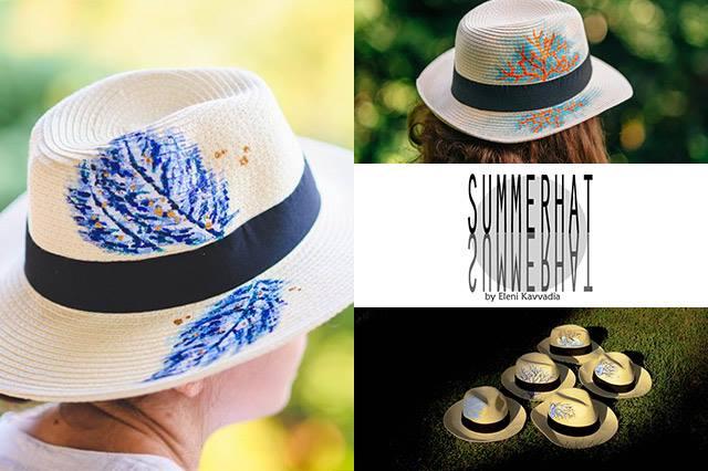 Summerhat by Eleni Kavvadia: Καπέλα ζωγραφισμένα στο χέρι 1