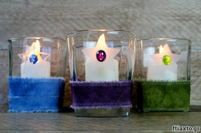 Διακοσμητική βάση κεριού από ποτήρι