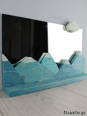 DIY: Καθρέπτης και ραφάκι με χιονισμένα βουνά